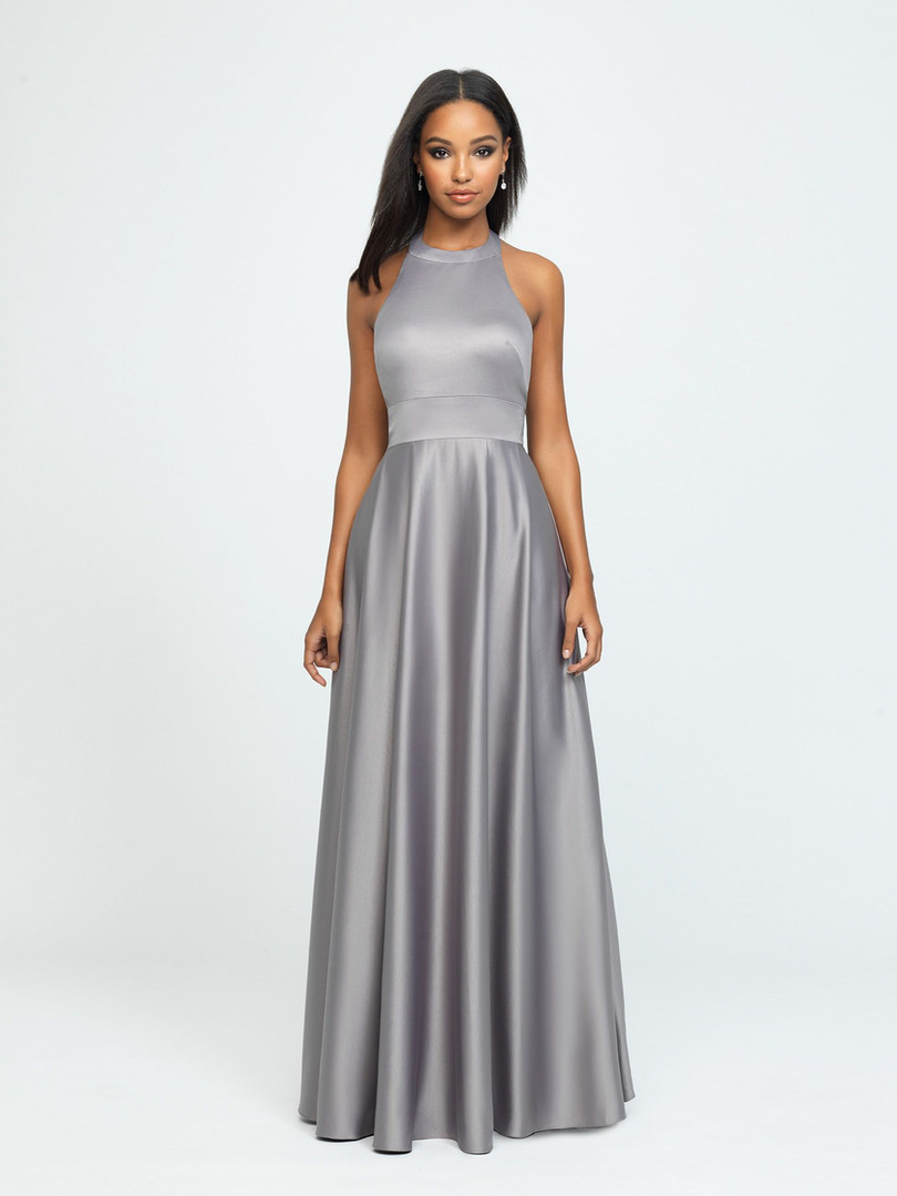 high neck silver bridesmaid dress