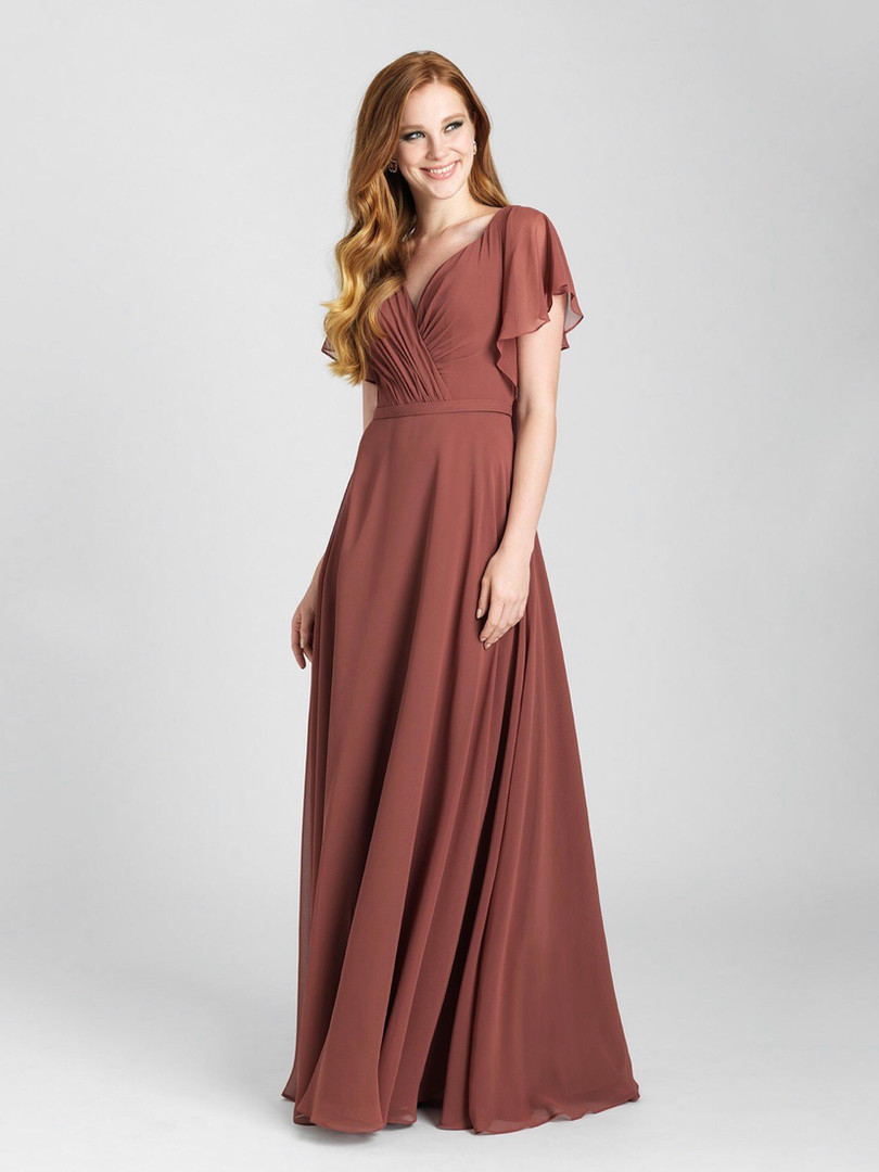 flowy rust color bridesmaid dress