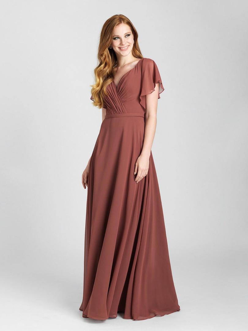 flowy rust color bridesmaid dress
