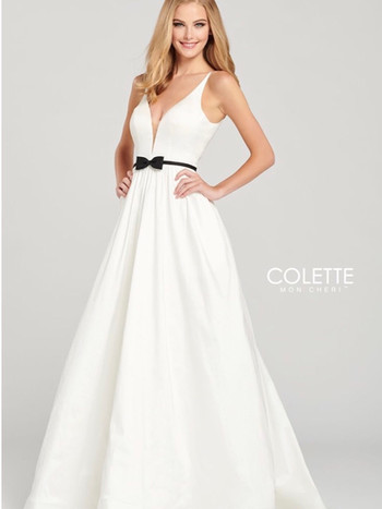 white ball gown prom dress