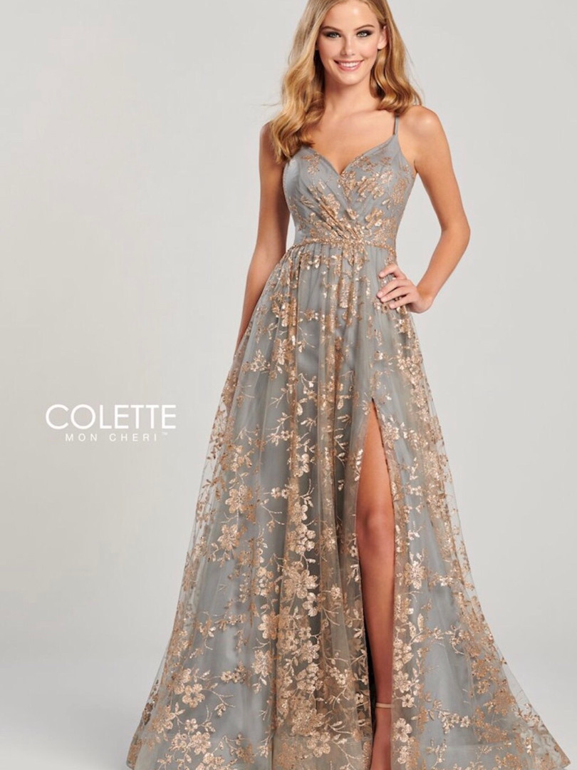 colette grey and gold sexy prom dress