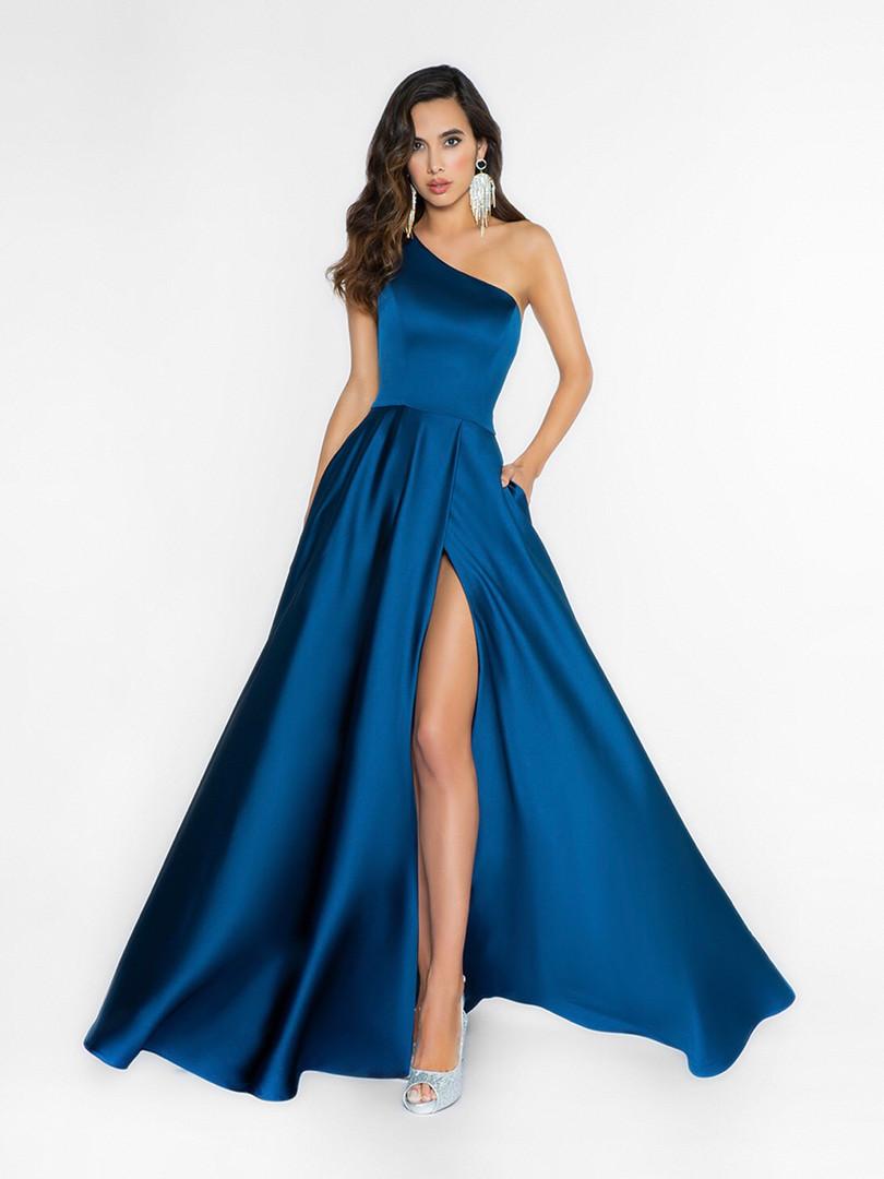 one shoulder blue prom dress with a slit