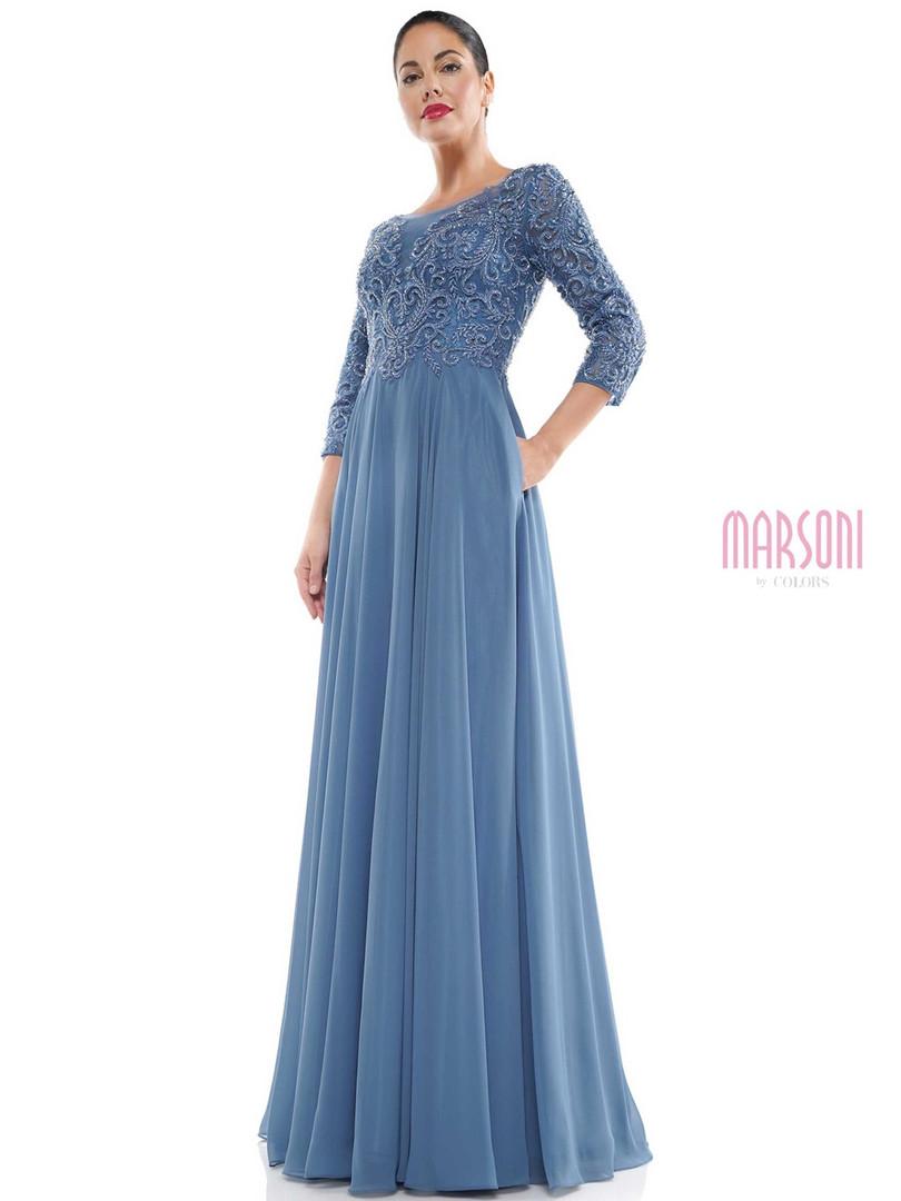 Slate Blue Long Sleeve Mother of the Bride Dress