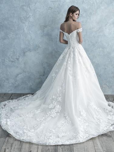 lace off the shoulder wedding dress