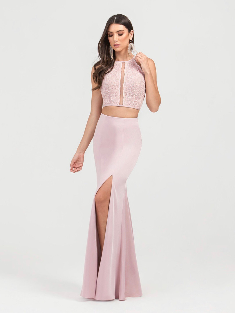 sexy two piece pink prom dress