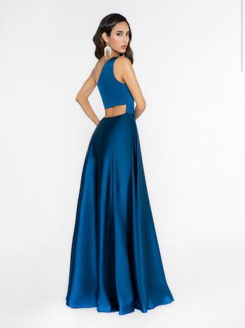 modest back on one shoulder prom dress