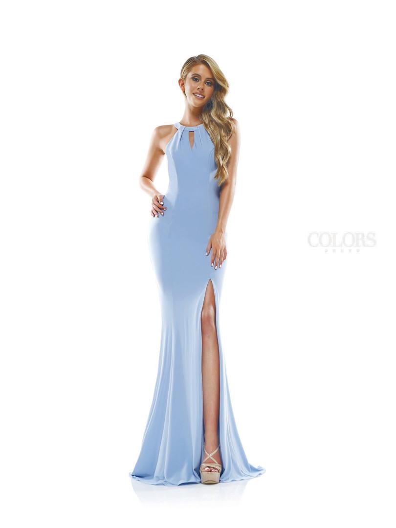sexy blue prom dress with a leg slit