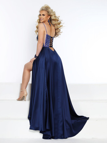 blue sexy prom dress with low back
