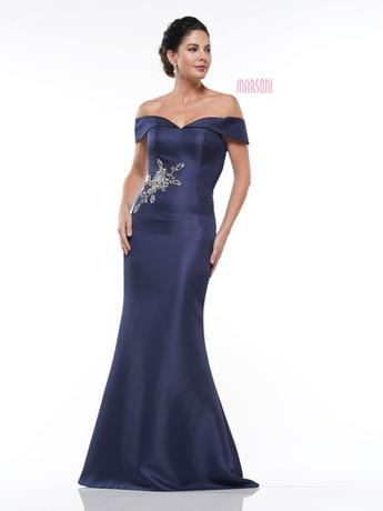 Navy Blue off the shoulder Mother of the Bride dress