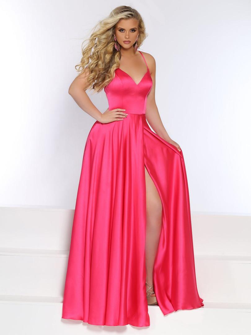 pink plain sexy prom dress