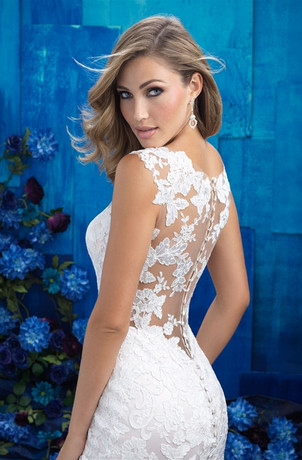 Lace Illusion Trumpet Wedding Dress