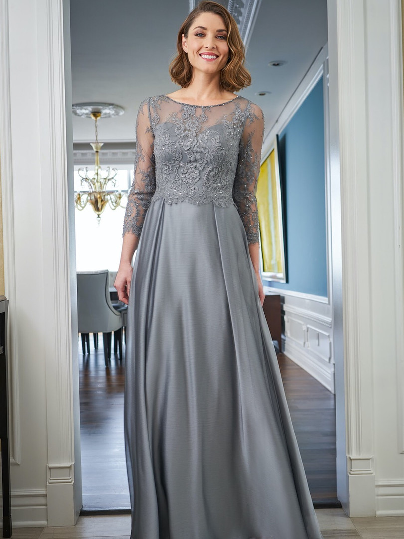 Lace long sleeve mother of the bride dress