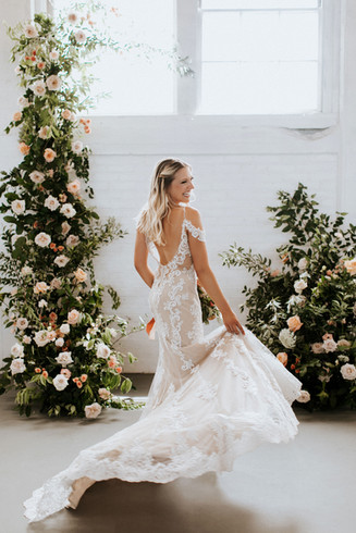 Fitted wedding gown, low back wedding gown. Westbrook wedding dress shop, CT wedding dress shop