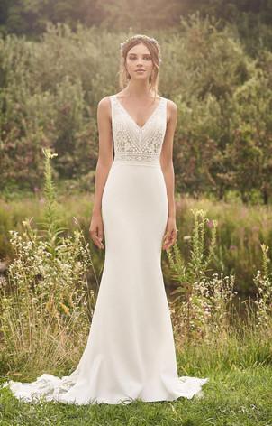 CT Bridal Shop, Bridal Shop CT, Boho Wedding Dress, crepe and lace wedding dress