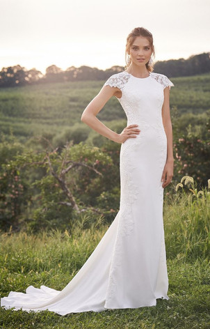 RI Bridal Shop, Bridal Shop RI, boho wedding dress, crepe and lace wedding dress