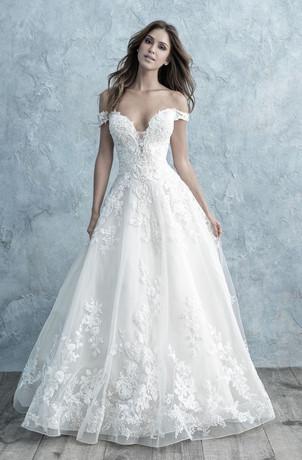 sexy off the shoulder low v-neck wedding dress
