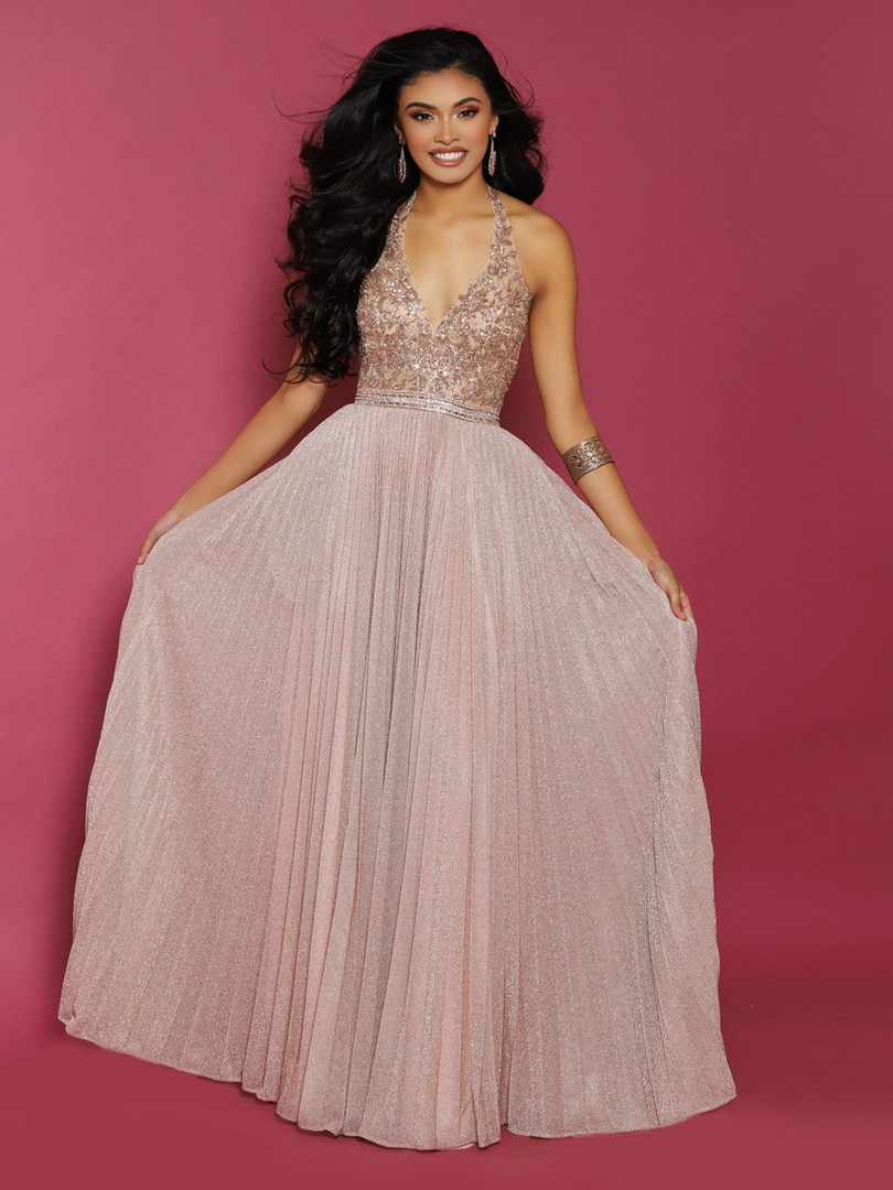 rose gold beaded high end sexy prom dress