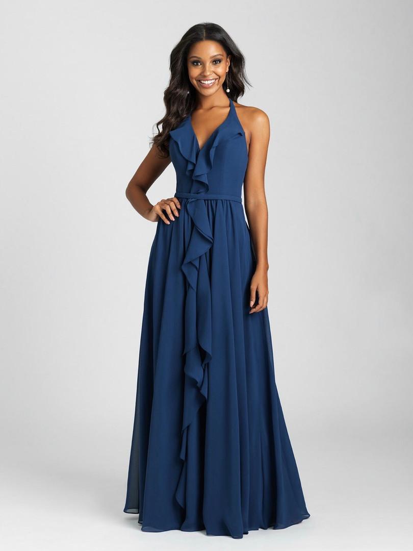 blue flowy bridesmaids dress