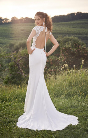 CT Bridal Shop, Bridal Shop CT, Boho Wedding Dress, low back wedding dress, crepe and lace wedding dress