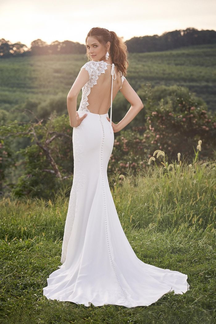 CT Bridal Shop, Bridal Shop CT, Boho Wedding Dress, low back wedding dress, crepe and lace wedding dress