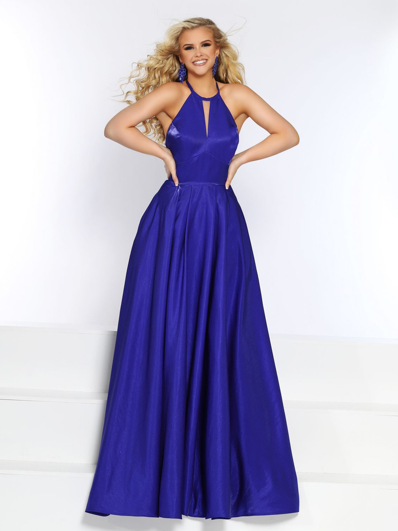 blue modest prom dress