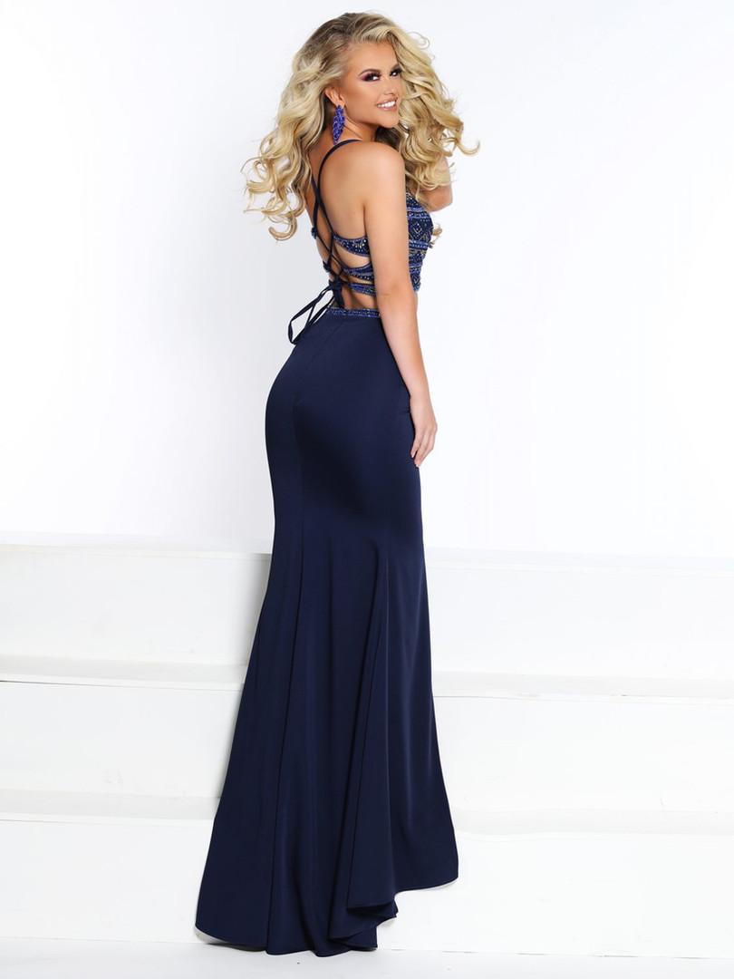 lace up back 2 piece prom dress