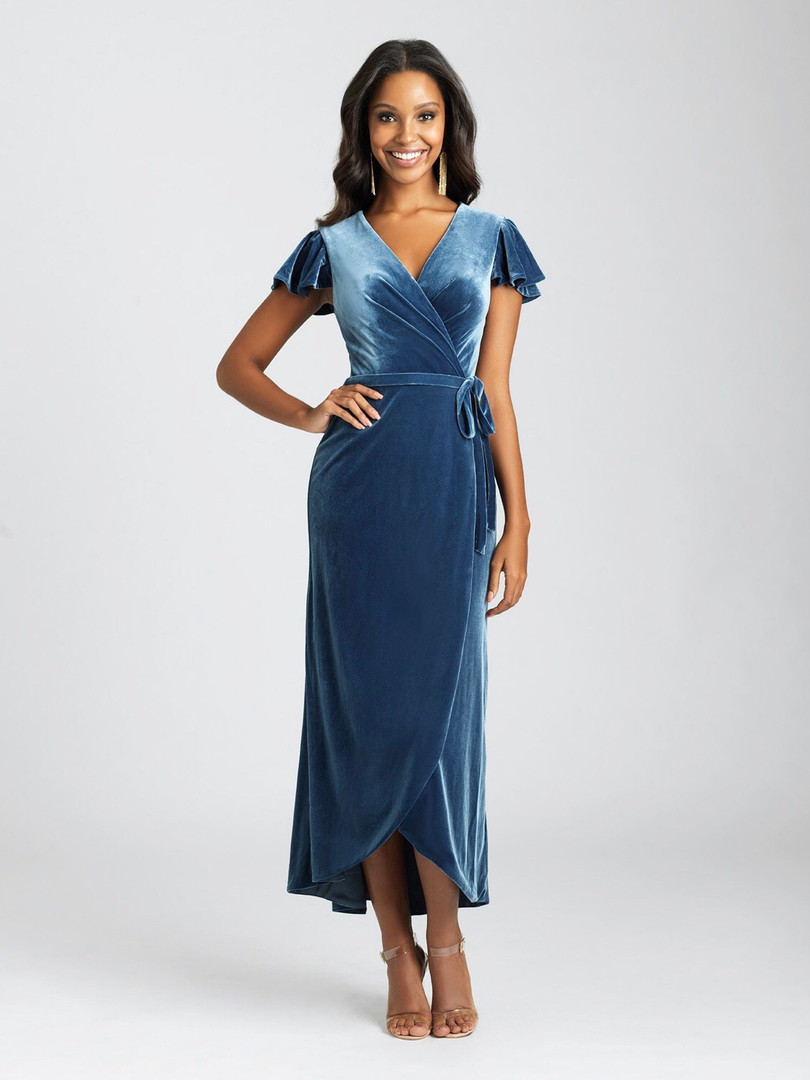 cute velvet bridesmaid dress