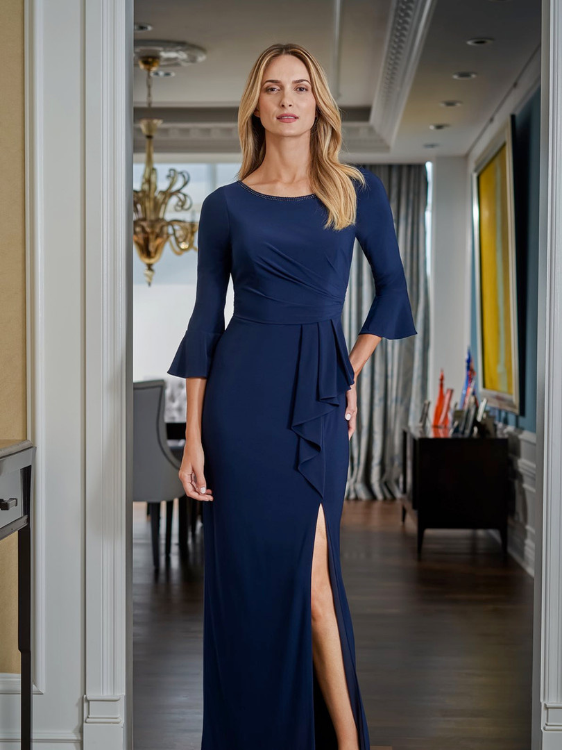 Navy blue fitted long sleeve mother of the bride dress with a slit