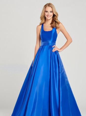 modest blue ball gown prom dress