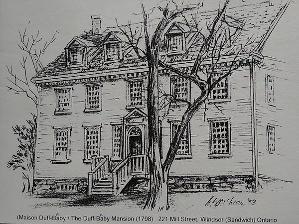 Exterior sketch of the Duff-Baby Mansion