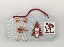 cadre décor Noël skis sapin ours flocons texte