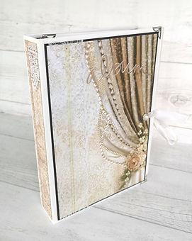 album,triptyque,scrap,photos,mariage,ruban,strass,perles,stamperia,ceremony