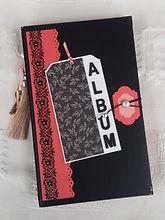 album,scrap,photos,cascade,noir,corail,perle,souvenirs