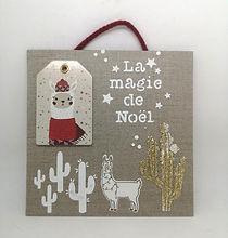 cadre lin lama la magie de noël cactus
