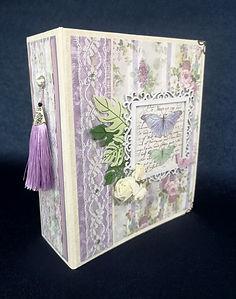 album,scrap,photos,stamperia,lilac flowers,anniversaire,fête,mariage,naissance