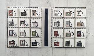 calendrier de l'avent,fait à la main au pôle nord,père noël,sapin,chaussette,renne,flocons,style anglais