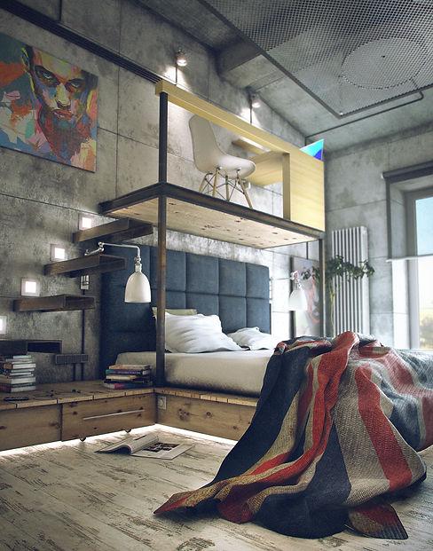 Дизайн спальни в стиле лофт. Loft bedroom design.