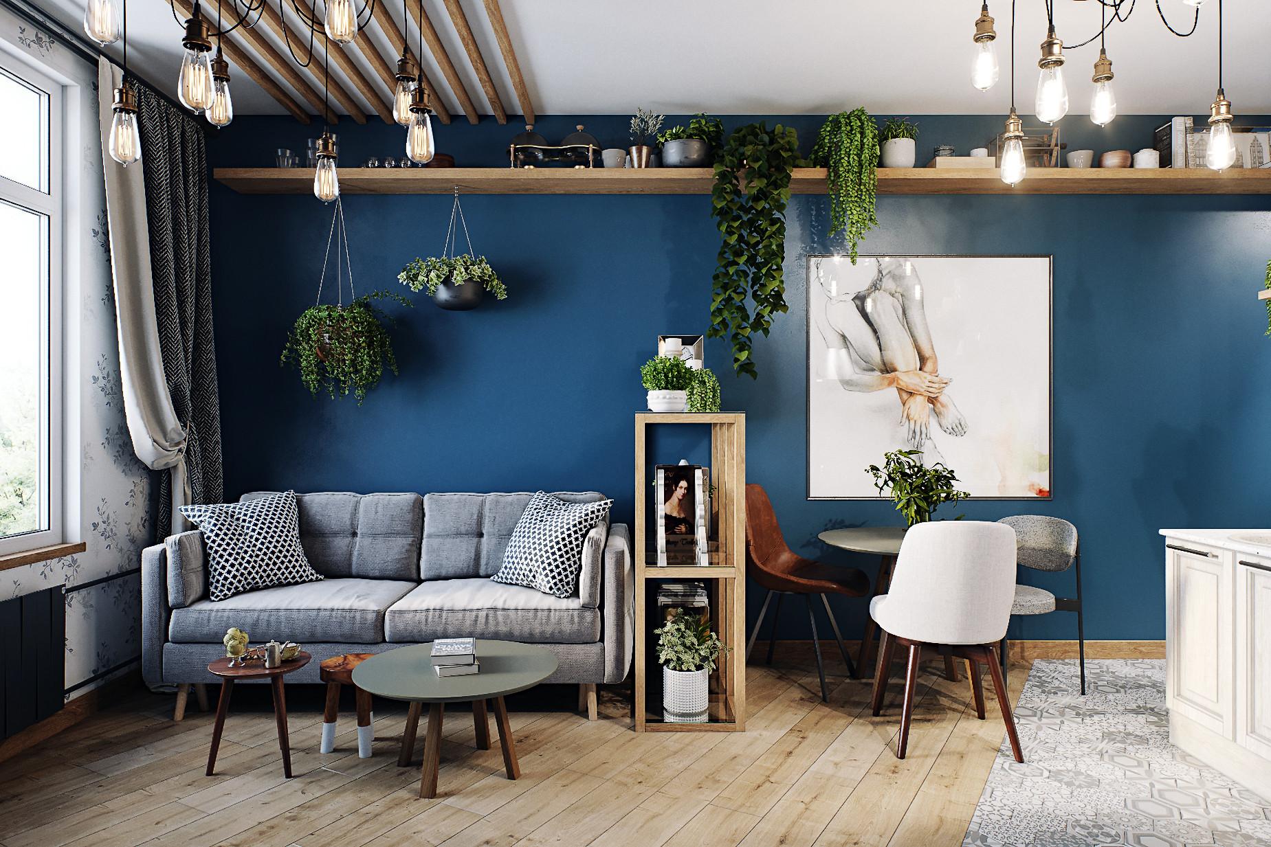 Общее пространство с густыми синими стенами
