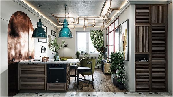 дизайн кухни-гостиной с бетонным потолком