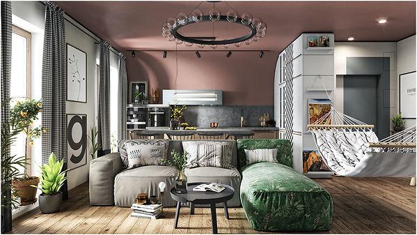 Кухня гостиная с цветным потолком