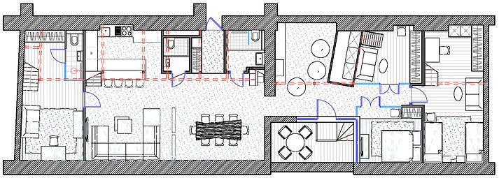 Планировочное решение первого уровня двухуровневой квартиры