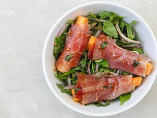 Melon Prosciutto Salad with Basil Balsamic Vinaigrette