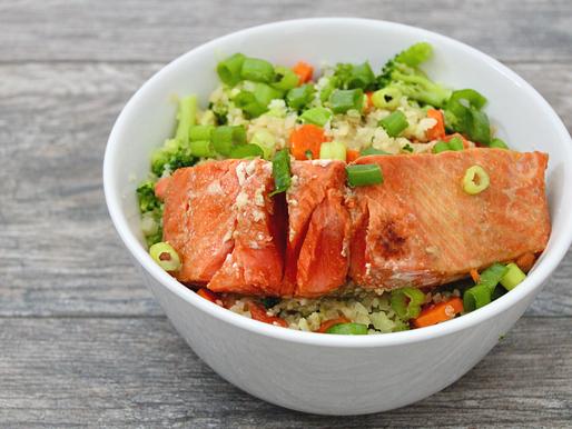 Ginger Honey Salmon Cauliflower-Rice Bowl