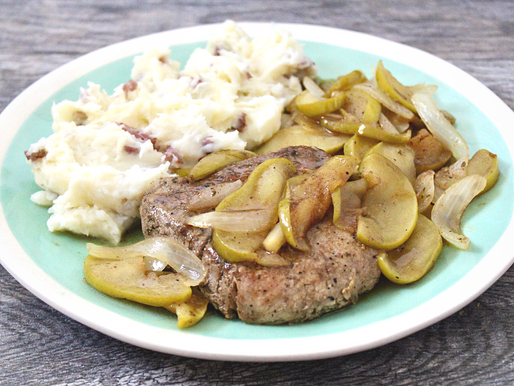 Pork Chops with Apples + Onions