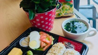 Salmon Roll Lunch Box with Miso Soup