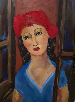 LIANA BRINZAS, Girl with red beret, 2020