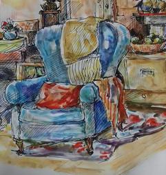 The blue armchair