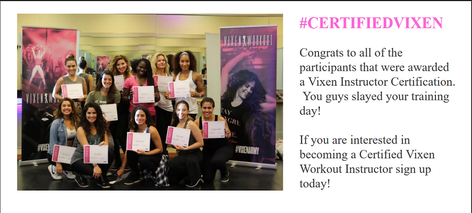 Certified Vixen, vixen army, Vixen workout, vixen instructor certificaation, dance fitness, classpass