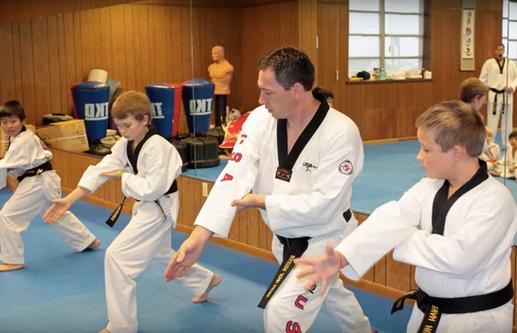 Master Hayes training black belt kids