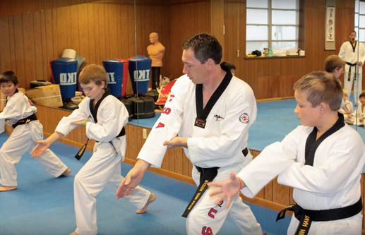 Master Hayes training black belt kids